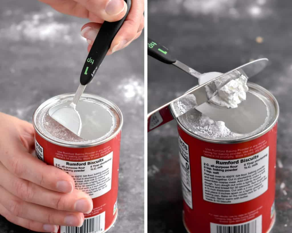 Two photos showing the ways to measure baking powder