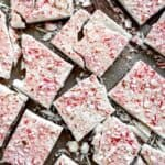 Overhead shot of peppermint bark broken into pieces