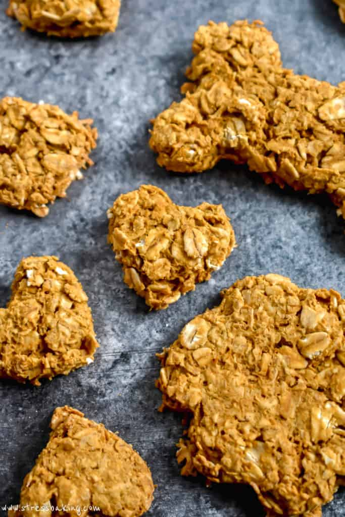 Close up of heart shaped pumpkin peanut butter dog treat