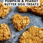 Close up of heart shaped pumpkin peanut butter dog treat