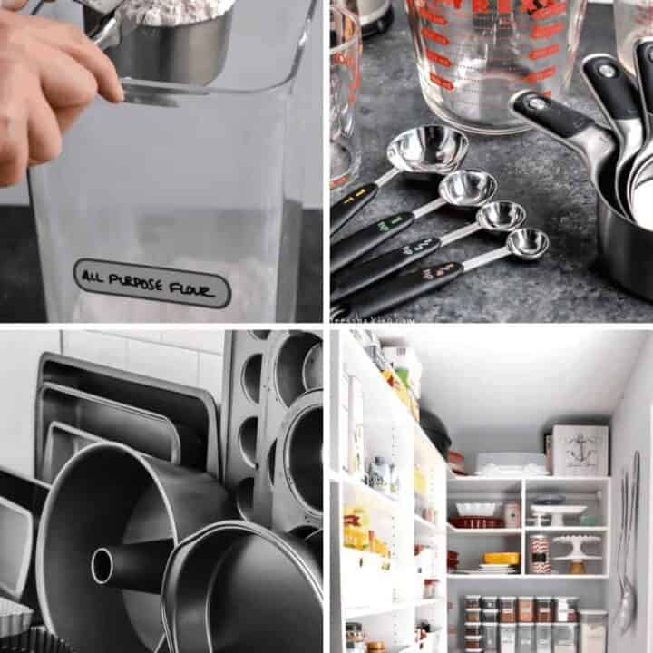 Four photo collage showing measuring utensils, cake pans and a well organized pantry