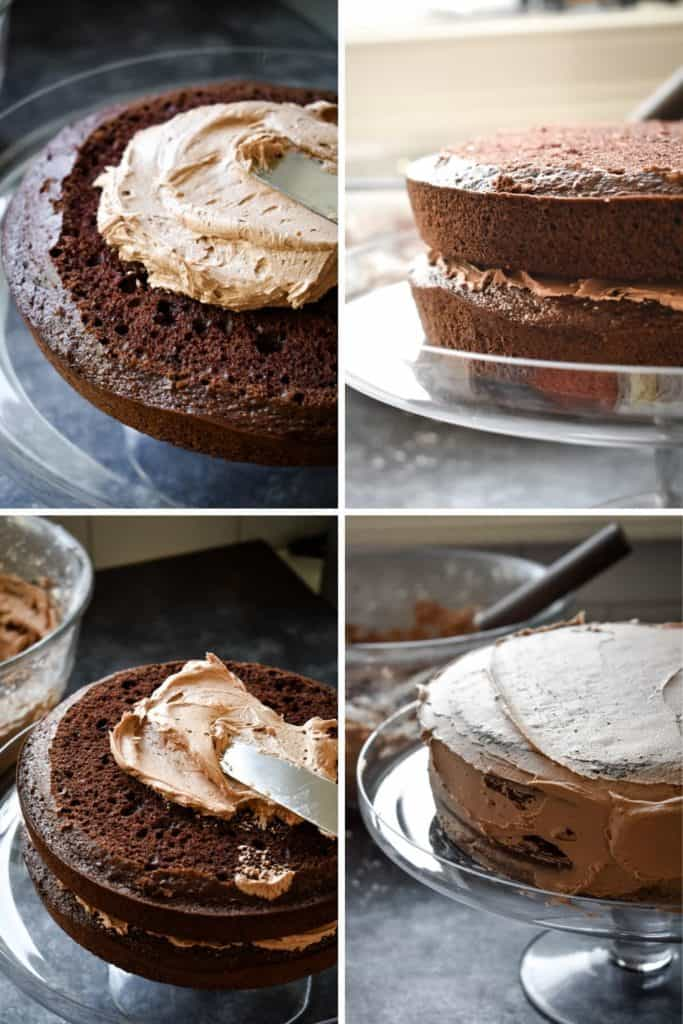 Four photo collage showing the process of assembling a chocolate layer cake with chocolate frosting