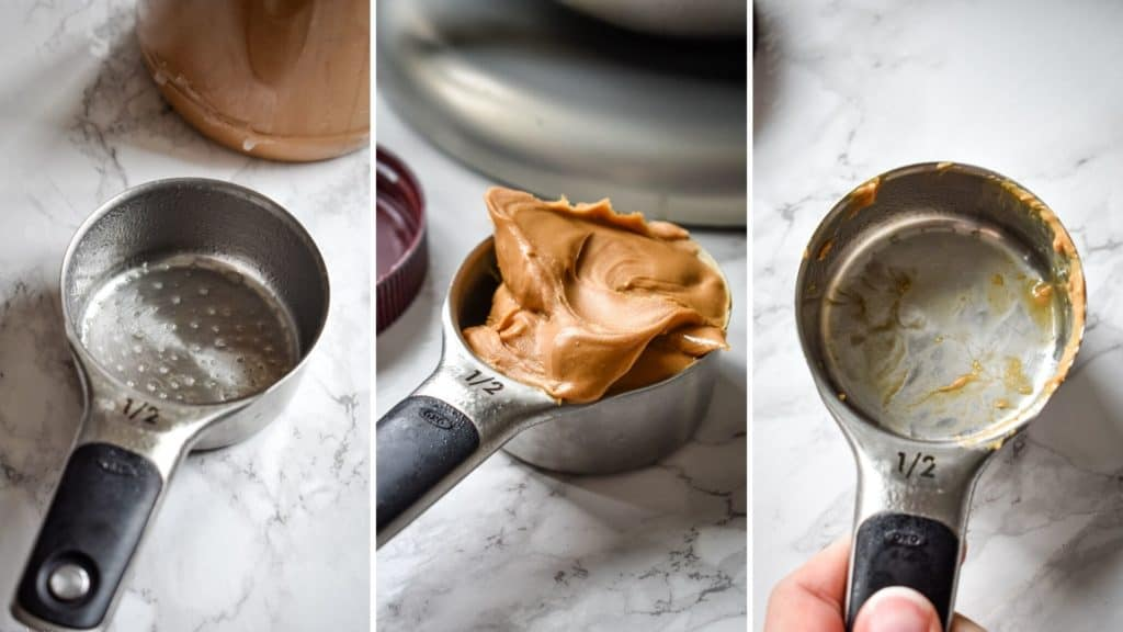 Three photo collage showing the process of coating a measuring cup with nonstick spray to easily measure and remove peanut butter