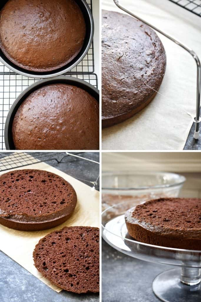 Four photo collage showing the process of leveling chocolate cake rounds