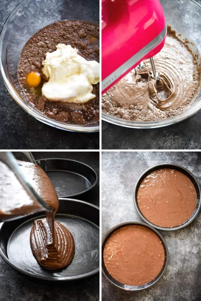 Four photo collage showing the process of making chocolate cake batter with a hand mixer