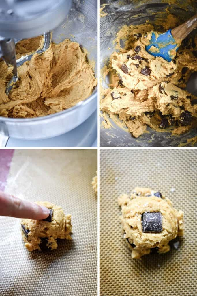 Four photo collage showing the process of making peanut butter chocolate chunk cookie dough