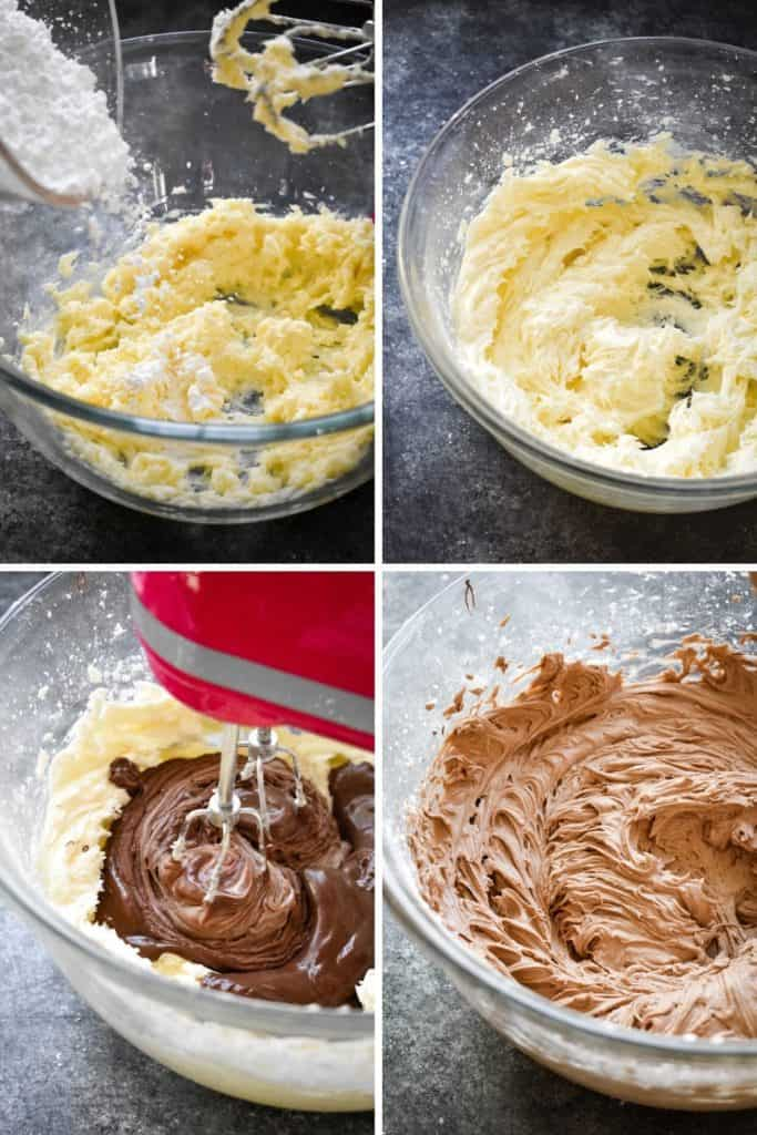 Four photo collage showing the process of making chocolate frosting with a hand mixer