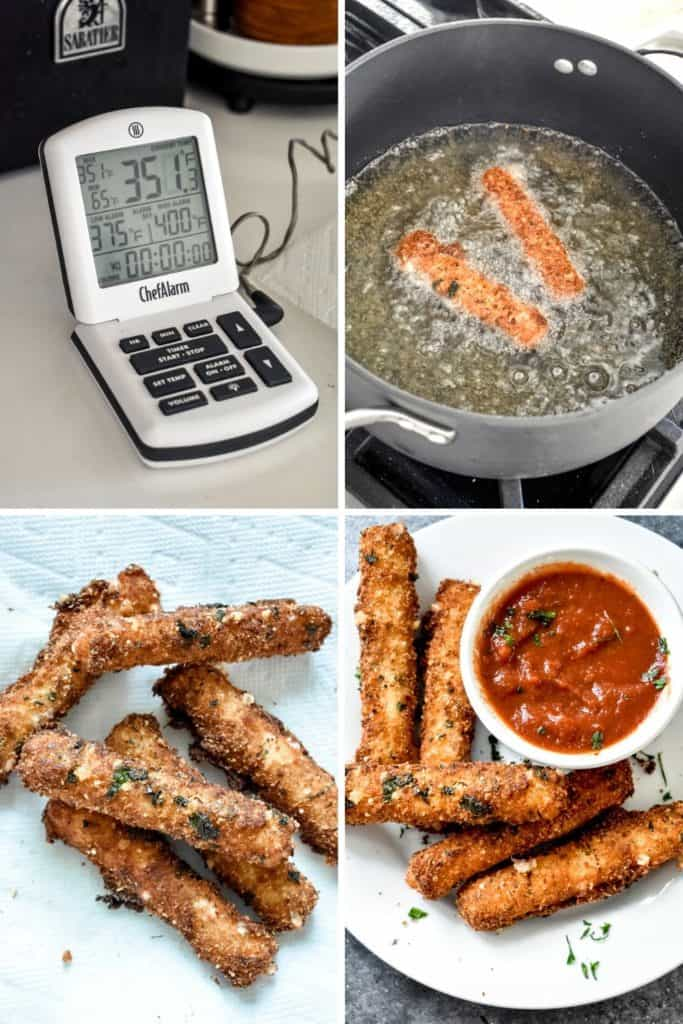 Four photo collage showing the process of frying homemade mozzarella sticks