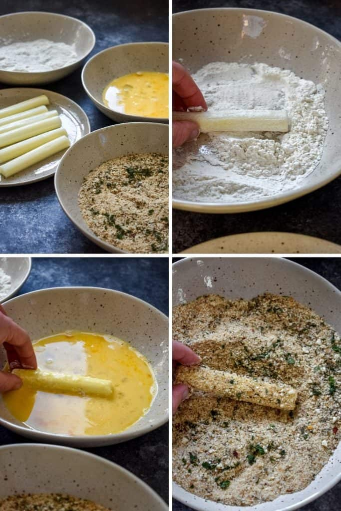Four photo collage showing the process of coating string cheese to make mozzarella sticks