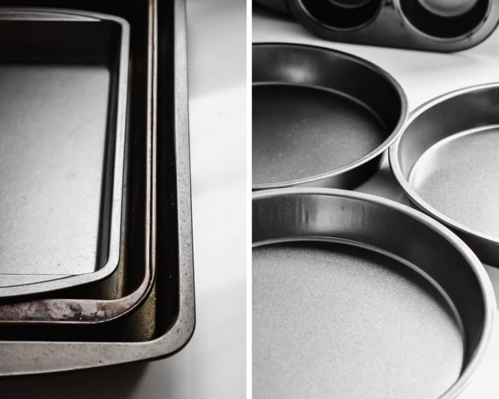 Side by side photos of rectangular and round baking pans