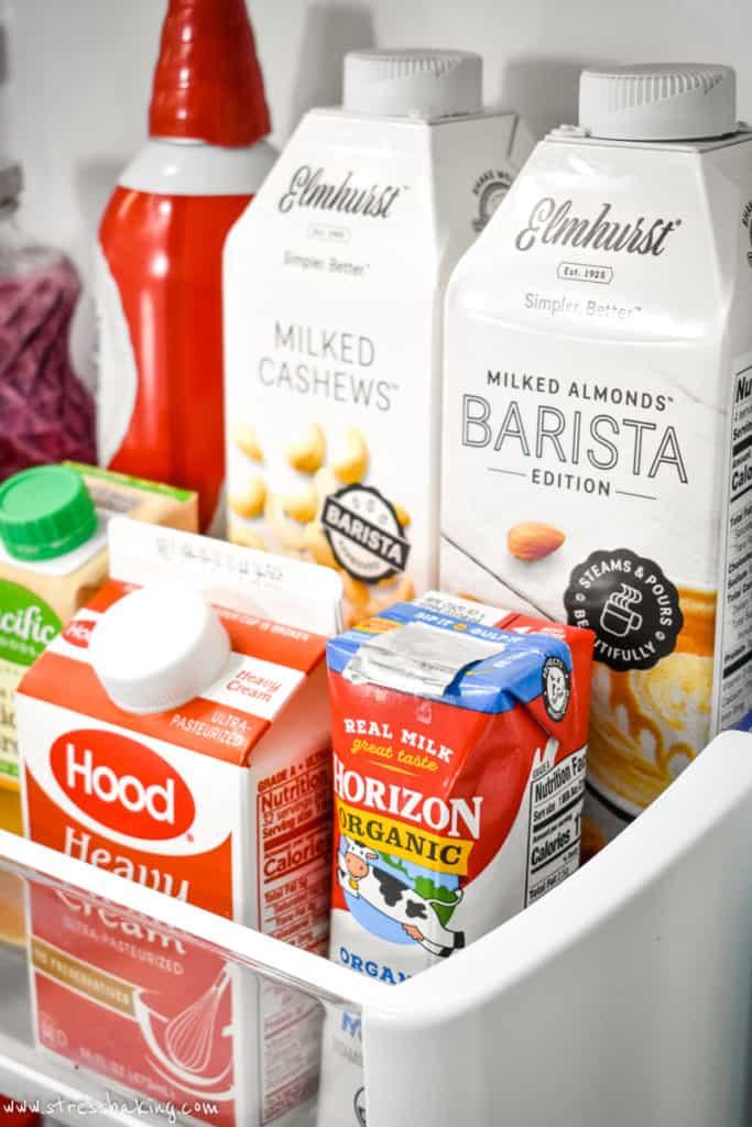 Refrigerated items in a fridge door