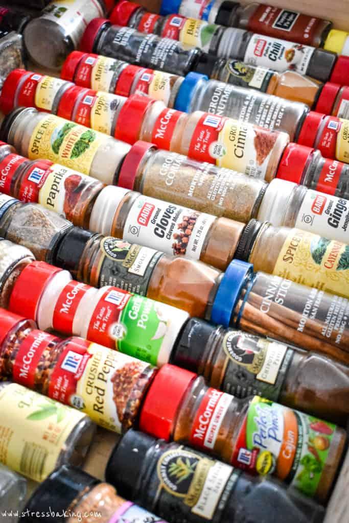 Drawer full of spice jars