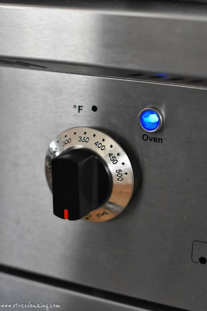 Close up of gas oven knob