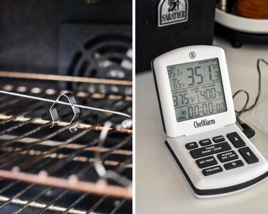 Digital thermometer attached to a grate clip with a probe