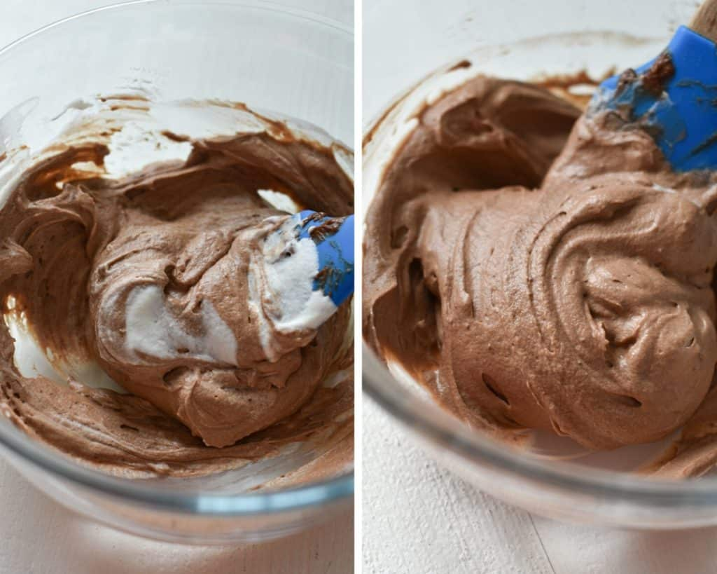 Side by side photos of whipped cream being folded into whipped Nutella