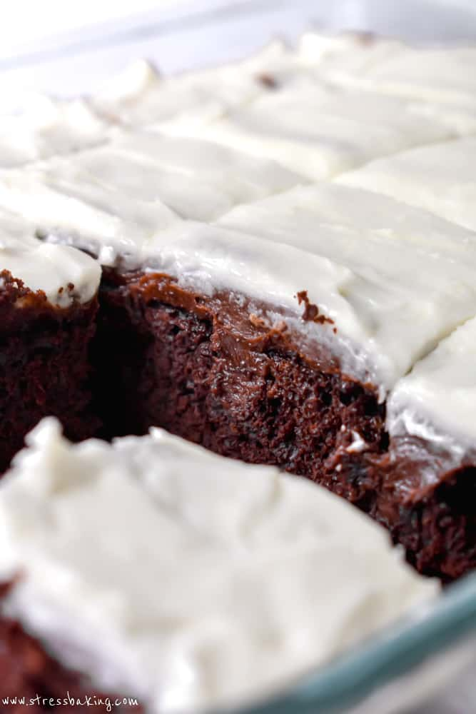 Close up of the inside of Jack and Coke chocolate poke cake