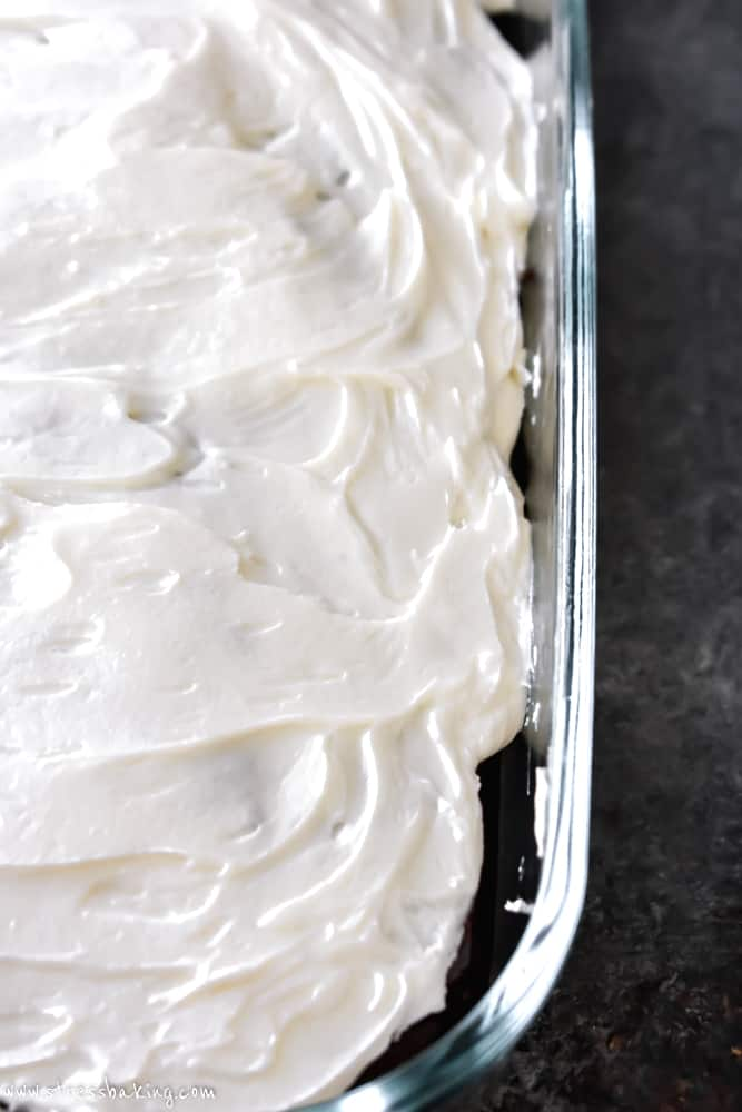 Overhead shot of cake pan covered in white buttercream frosting