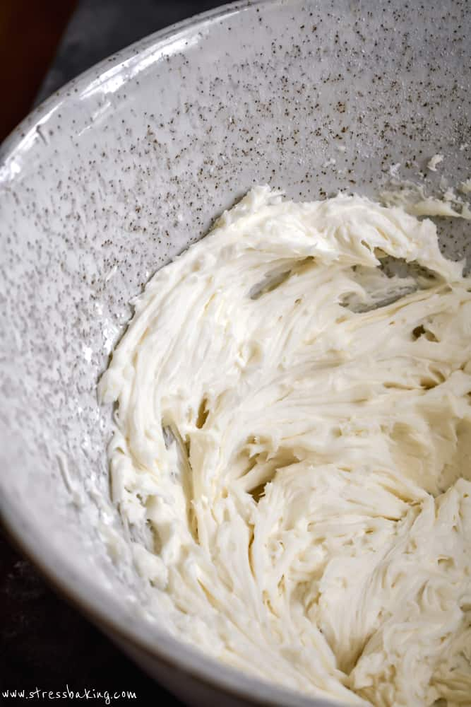 A bowl of whiskey buttercream frosting
