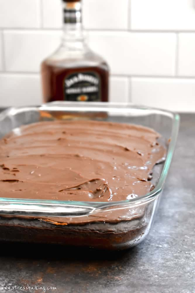 A pan of chocolate cake topped with chocolate frosting