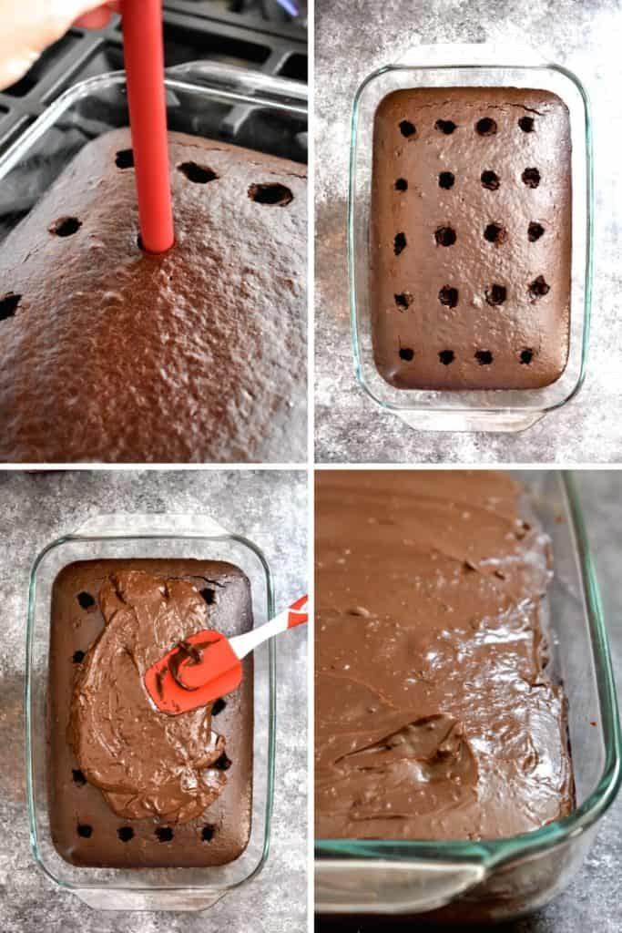Four photo collage showing the process of topping poke cake with chocolate ganache