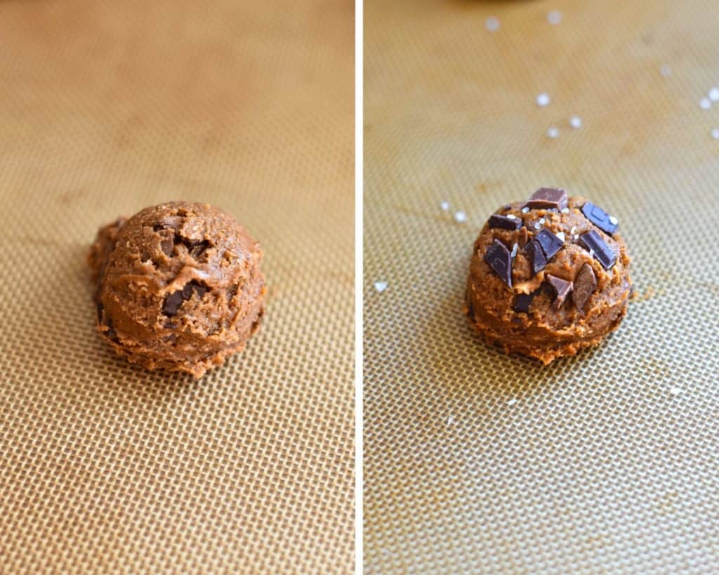 Side by side photos of a ball of cookie dough before and after being topped with chocolate and sea salt
