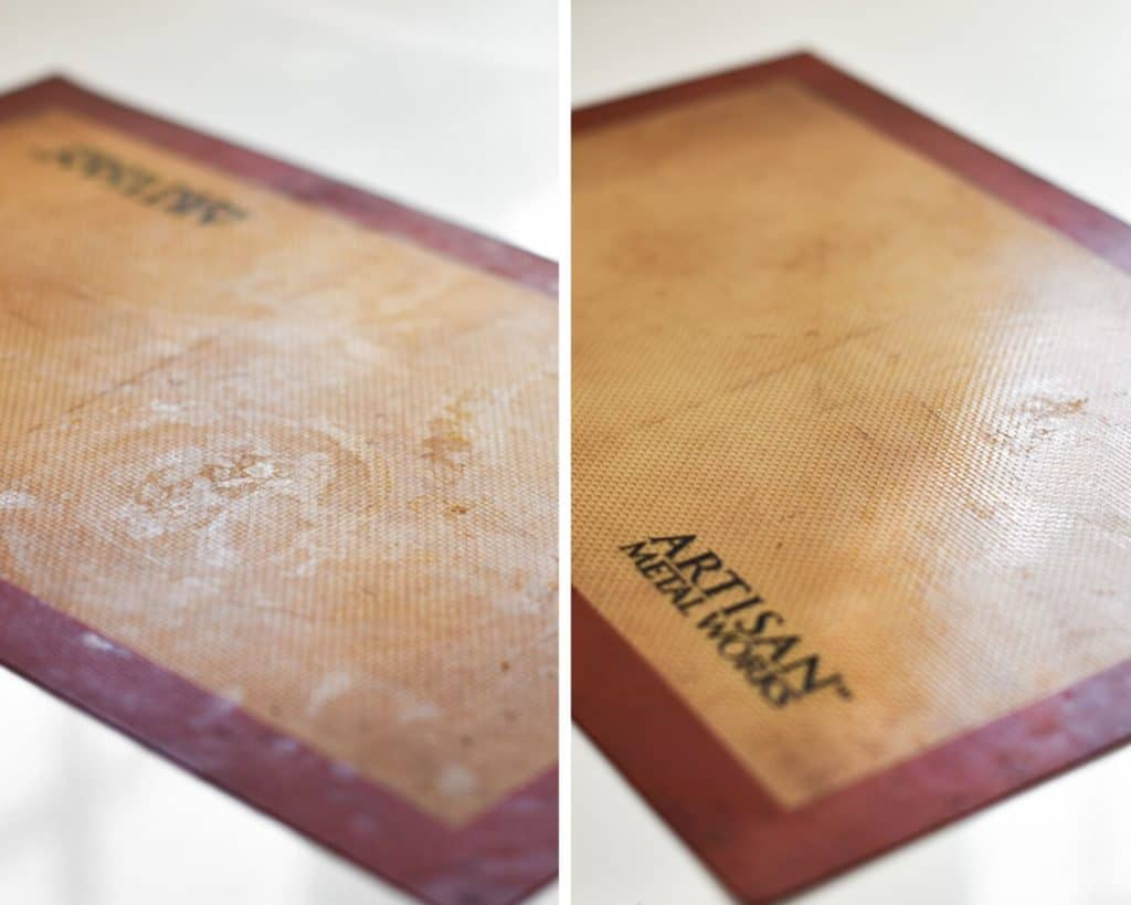 A silicon mat before and after being cleaned
