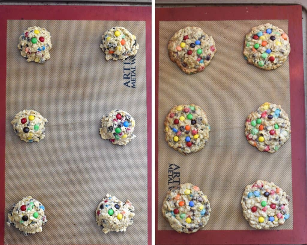 Before and after shots of oatmeal M&M cookies being baked