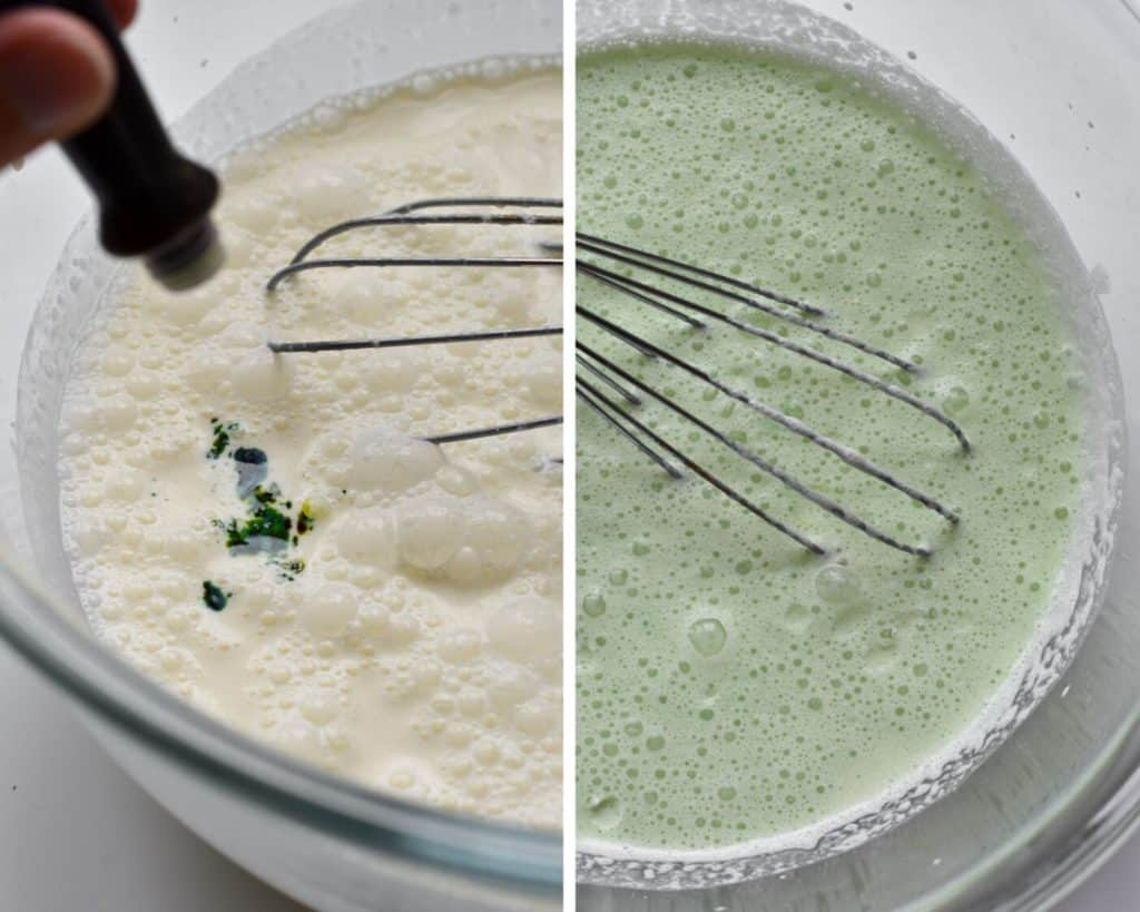 Adding green food coloring to ice cream batter to turn it light green