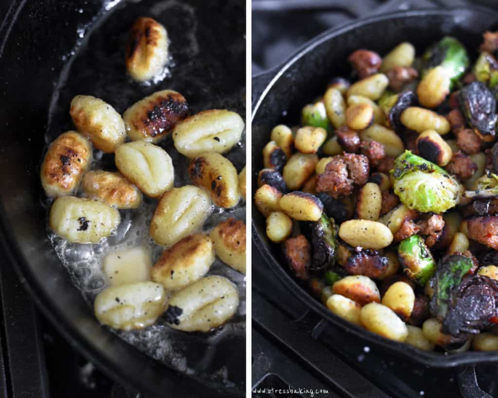 Pan friend gnocchi in a skillet with veggies