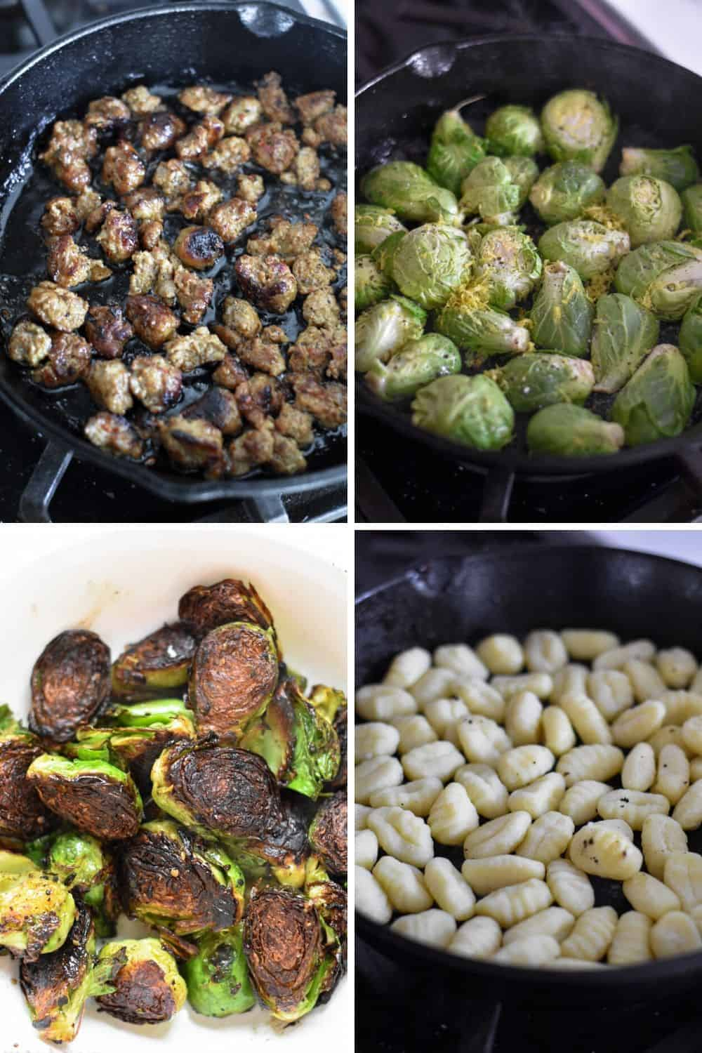 Four photo collage showing the process of cooking Italian sausage, brussels sprouts and gnocchi
