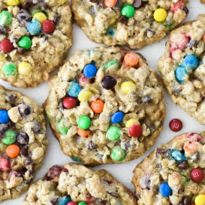 Overhead shot of colorful oatmeal M&M cookies