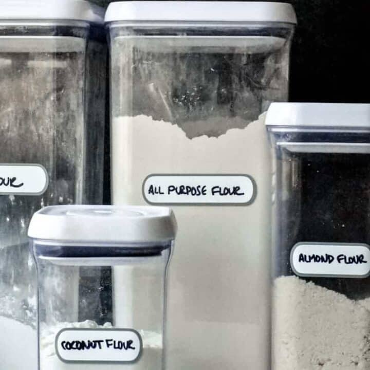 Clear plastic canisters of flours