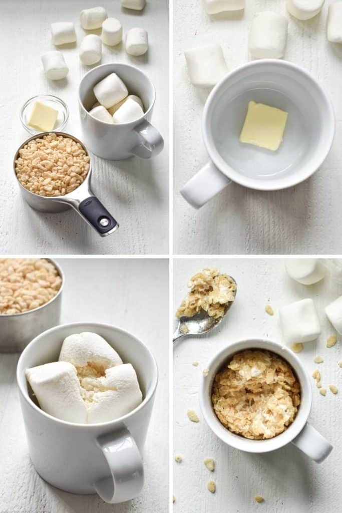 Four photo collage showing the process of making rice krispie treat in a mug