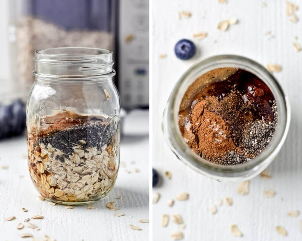 Side by side photos of a mason jar full of ingredients for overnight oats