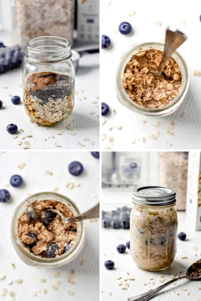Four photo collage showing the process of assembling blueberry overnight oats in a mason jar