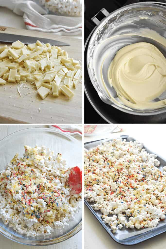 Four photo collage of melting white chocolate and coating popcorn