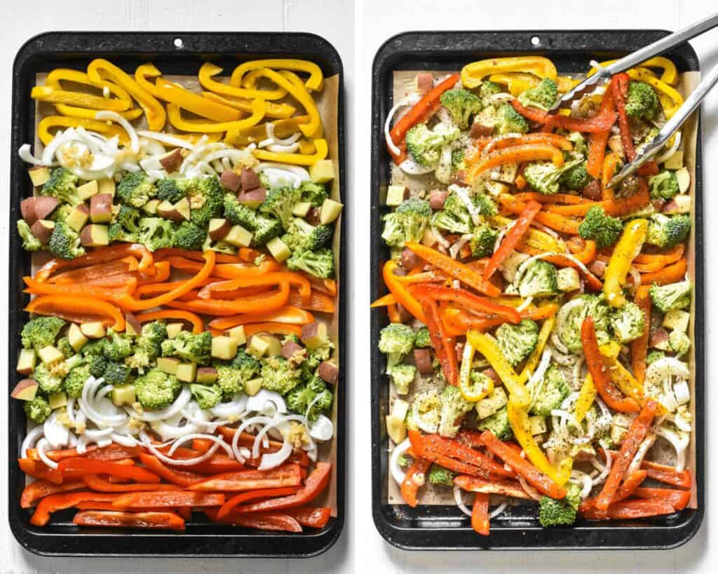 Sliced vegetables before and after being seasoned and mixed on a sheet pan