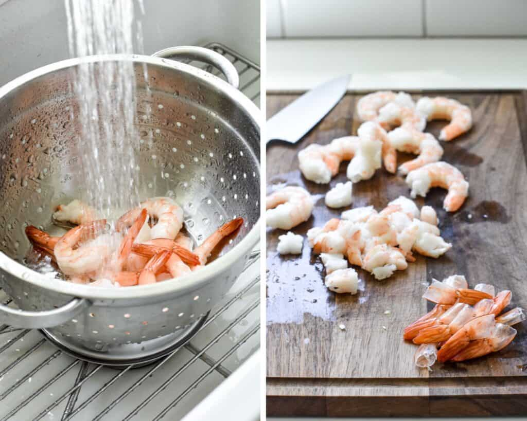 Frozen shrimp being thawed in a colander and then having the tails removed