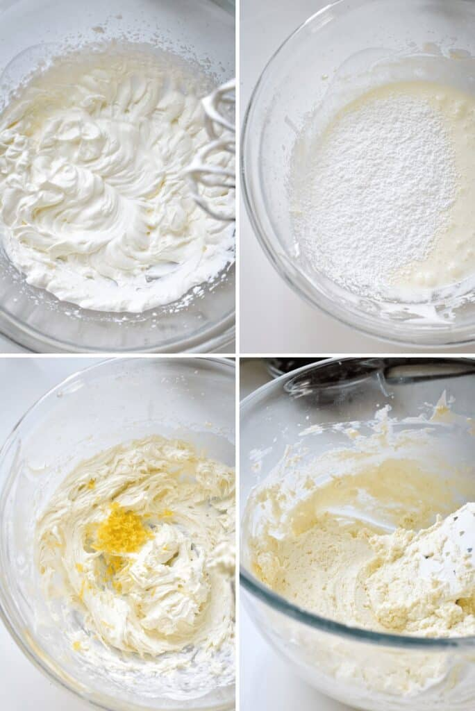 Four photos showing the process of whipping lemon mascarpone cream