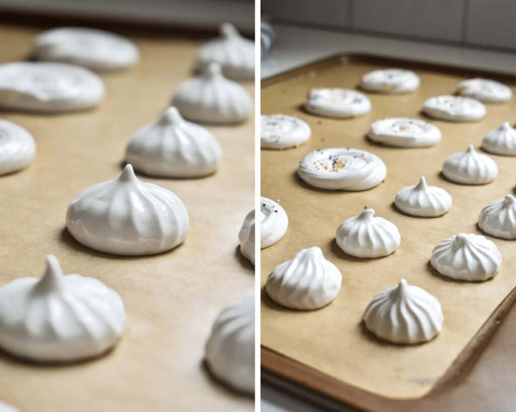 Piping white meringue cookies on prepared baking sheets