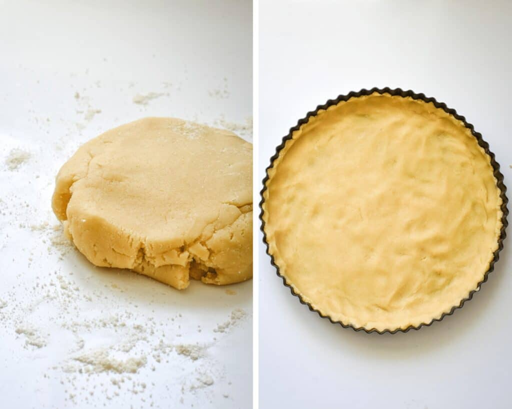 Golden tart crust being pressed into tart pan