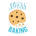 A logo with a cookie crumbling and blue text that says Stress Baking