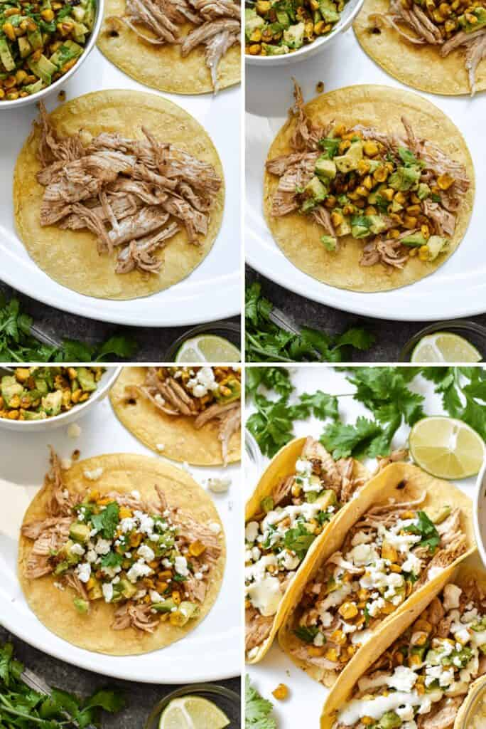 Four photo collage showing the process of assembling mexican street corn tacos