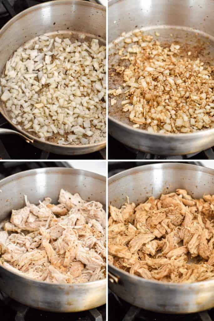 Four photo collage showing the process of cooking shredded chicken