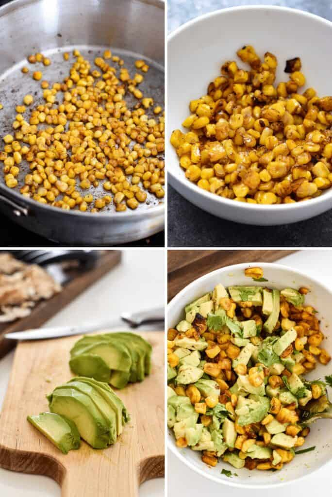 Four photo collage showing the process of making fresh avocado corn salsa