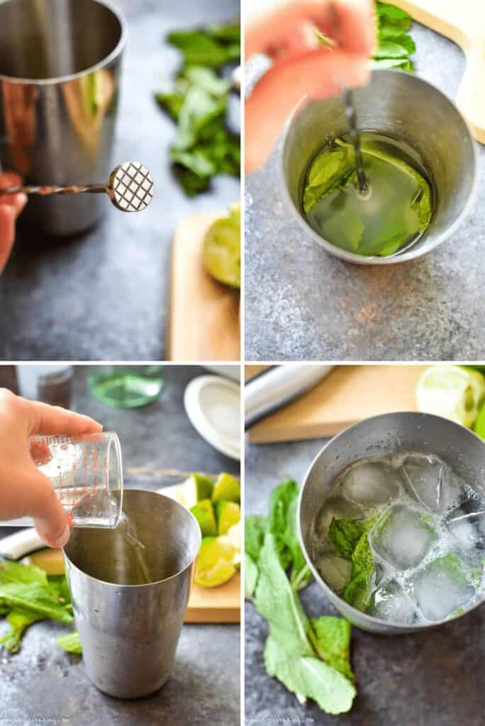 Four photo collage showing the process of muddling mint and making a mojito