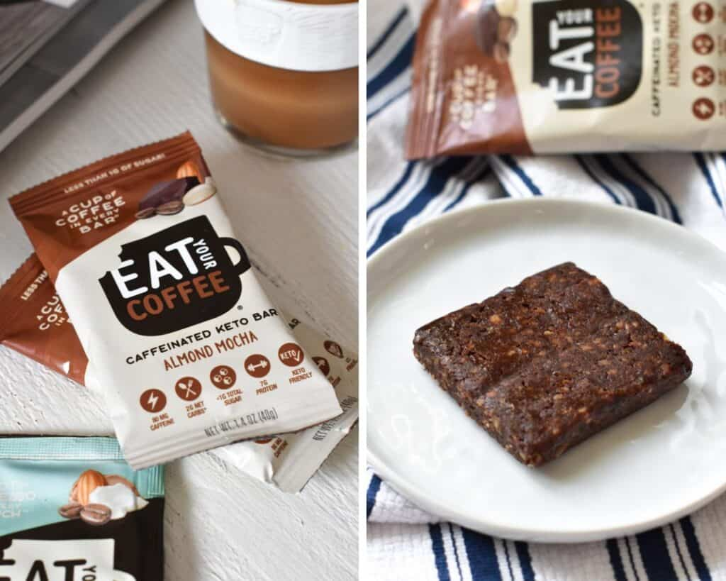 Eat Your Coffee Keto Almond Mocha bar in and out of package