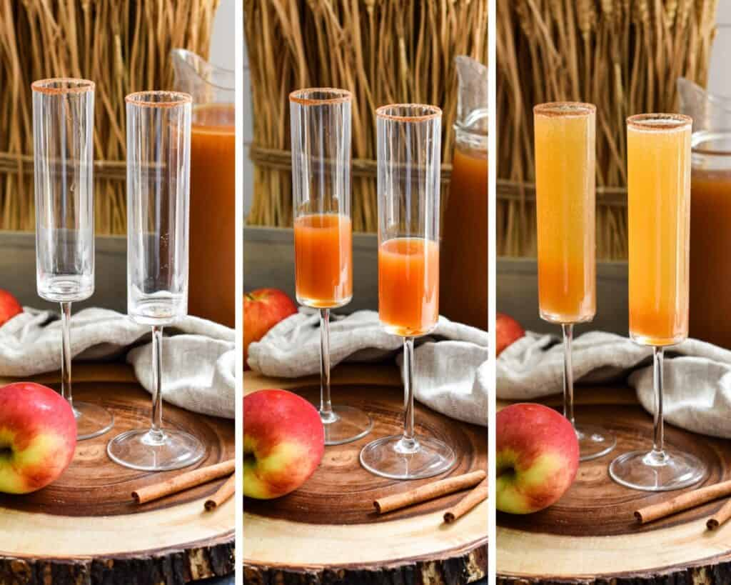 Three photo collage showing the phases of making apple cider champagne cocktails