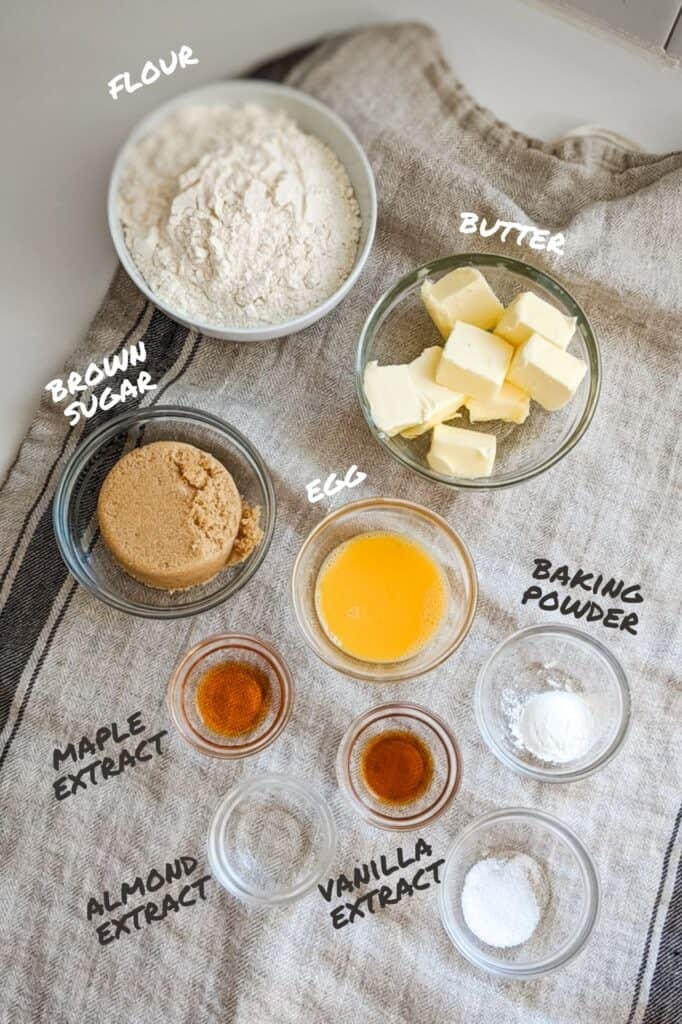 Bowls with ingredients of maple sugar cookie dough