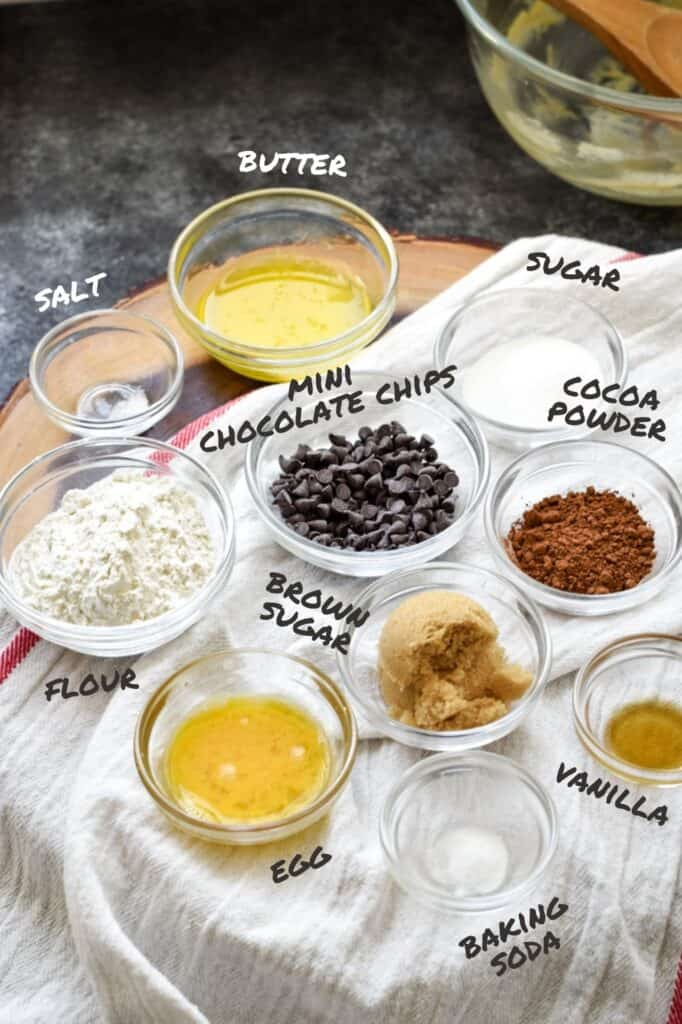 Labeled ingredients for giant double chocolate chip cookie
